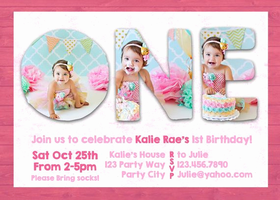 1st Birthday Invitation Template Unique Shop Template First 1st One Birthday Invite