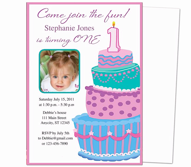 1st Birthday Invitation Template Unique Sweet Cakes 1st Birthday Invitation Templates Great