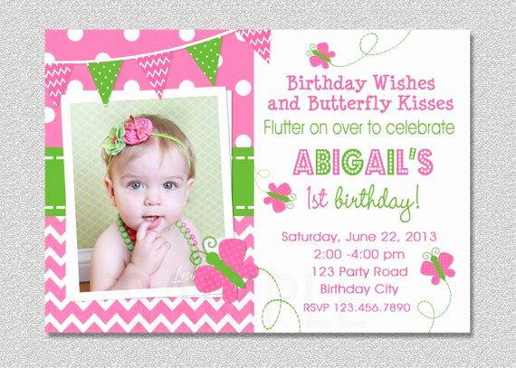 1st Birthday Invitation Wording Awesome butterfly Birthday Invitation butterfly Invitation Girl