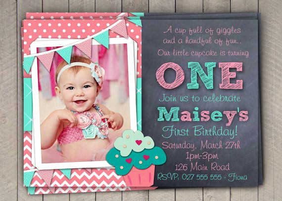 1st Birthday Invitation Wording Awesome Girls 1st Birthday Invitation First Birthday Cupcake