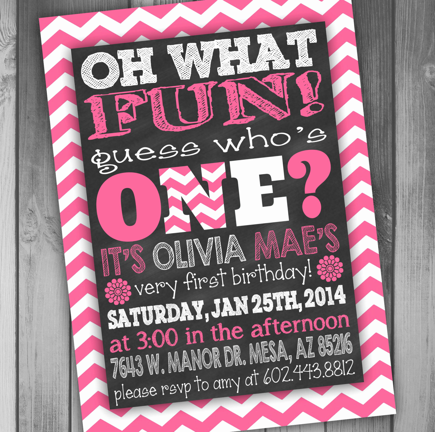 1st Birthday Invitation Wording Beautiful First Birthday Chalkboard Girl Birthday Invitation Chalkboard