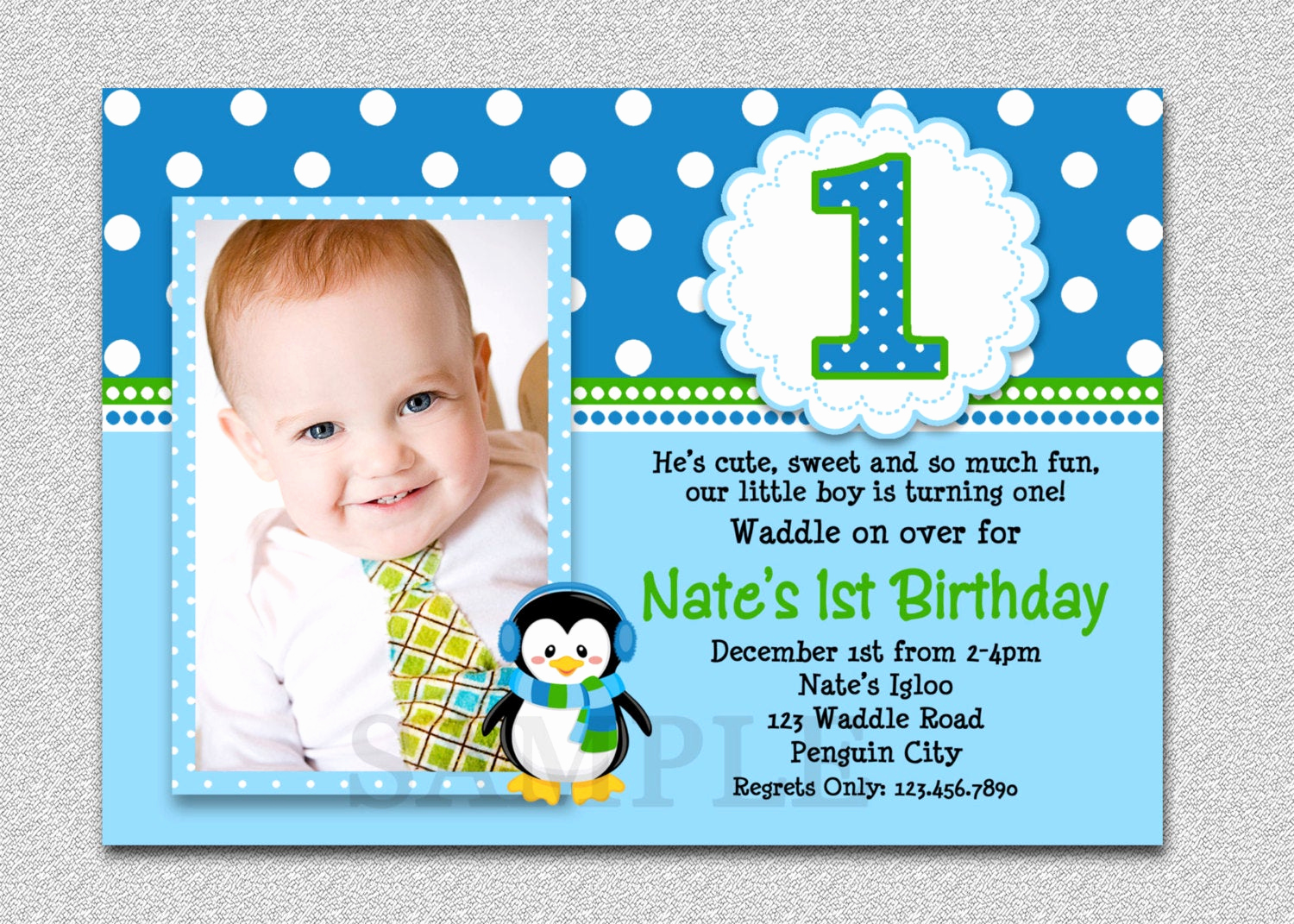 1st Birthday Invitation Wording Best Of Penguin Birthday Invitation Penguin 1st Birthday Party Invites