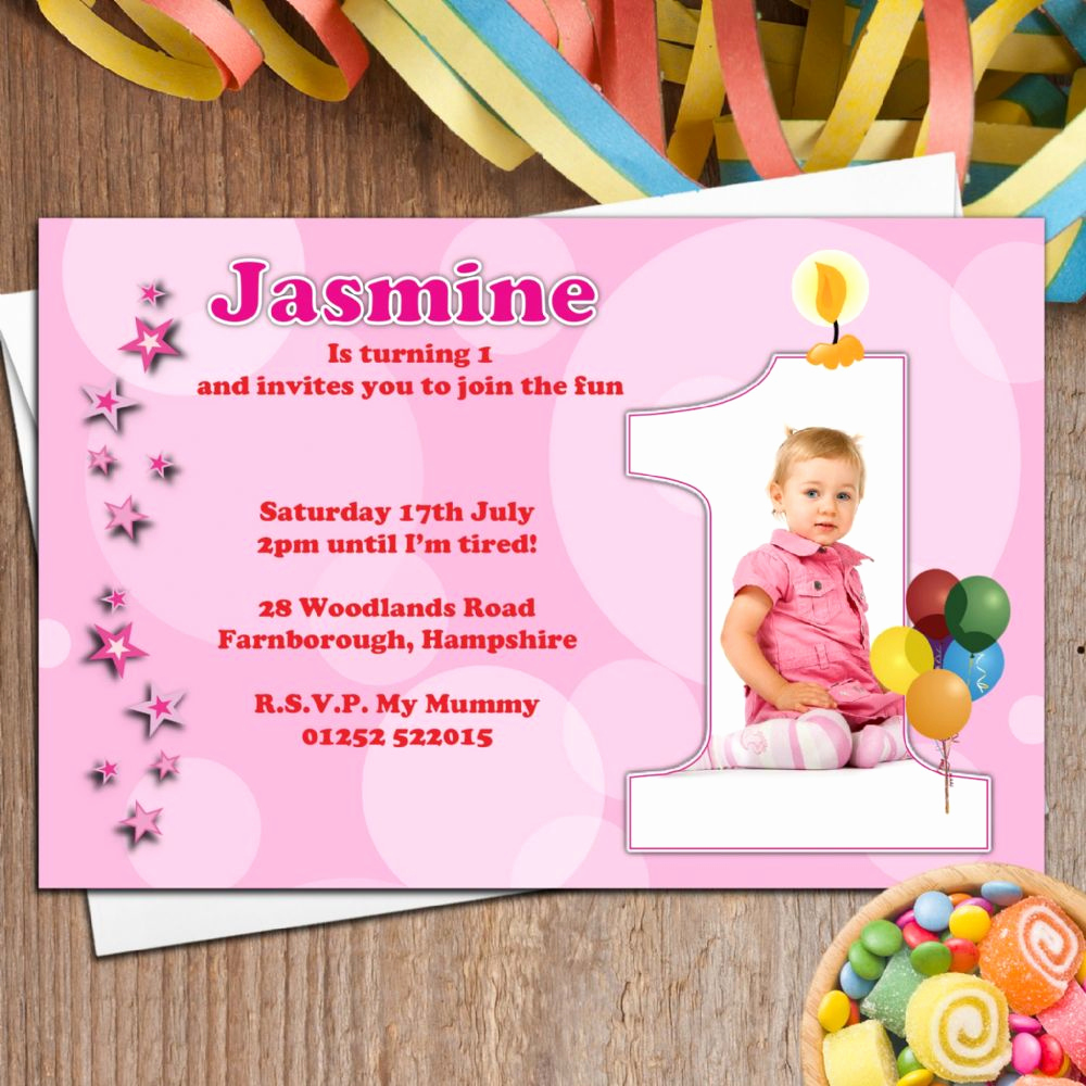 1st Birthday Invitation Wording Elegant 10 Personalised Girls First 1st Birthday Party Photo