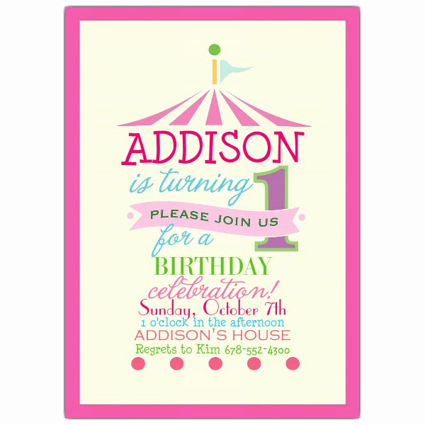 1st Birthday Invitation Wording Elegant Pink Circus 1st Birthday Invitations
