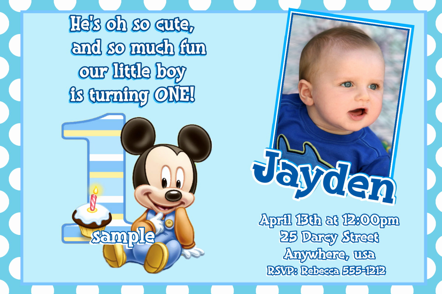 1st Birthday Invitation Wording Inspirational Mickey Mouse 1st Birthday Invitations Baby Mickey Mouse 1st