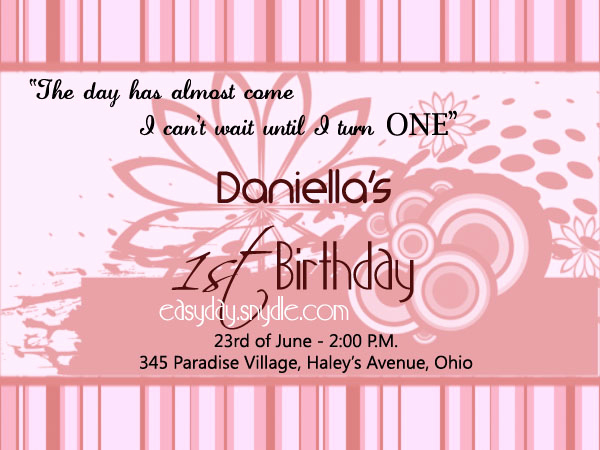 1st Birthday Invitation Wording New Birthday Invitation Wording Easyday