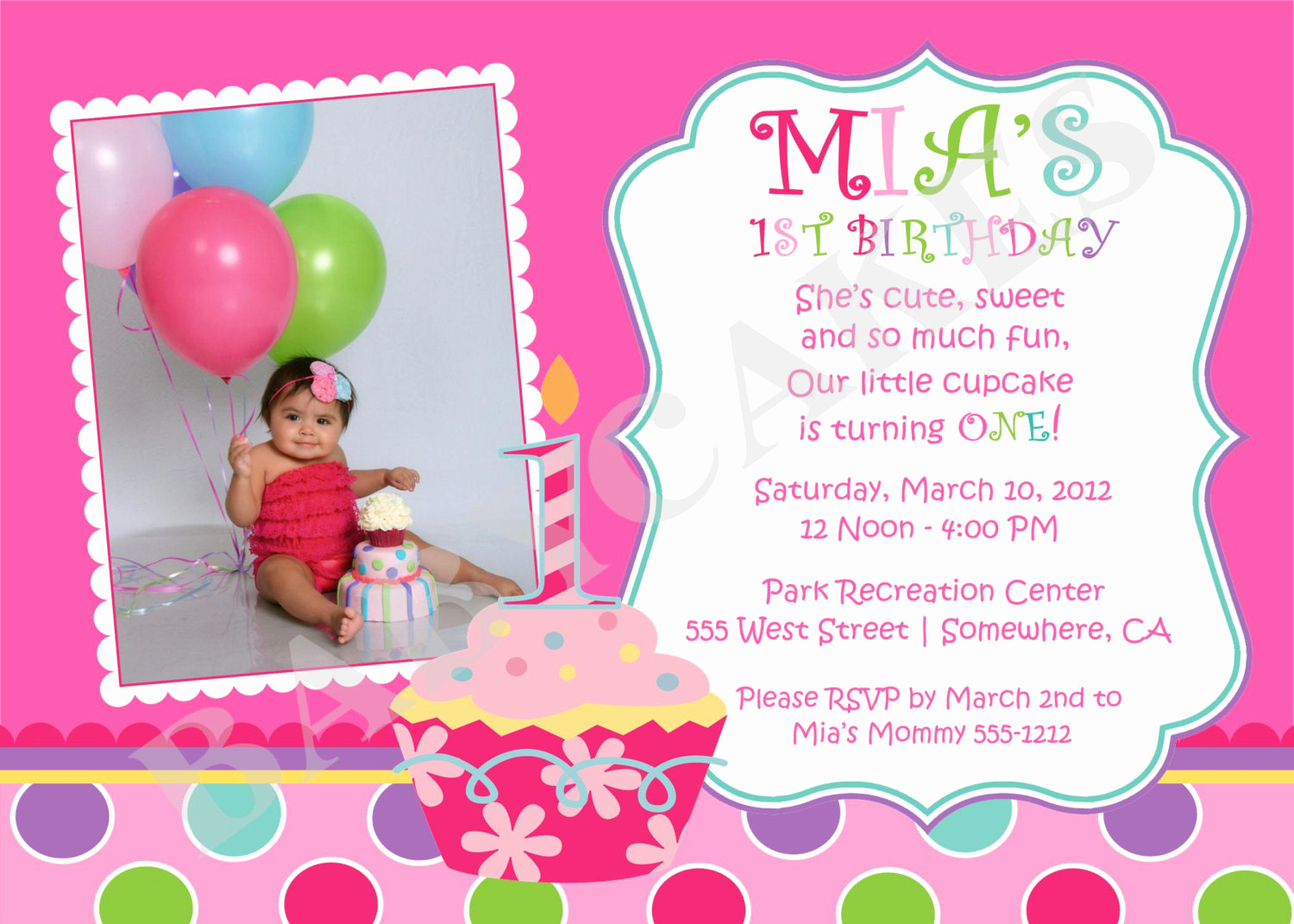 1st Birthday Invitation Wording New Sweet Little Cupcake Birthday Invitation Invite 1st Birthday