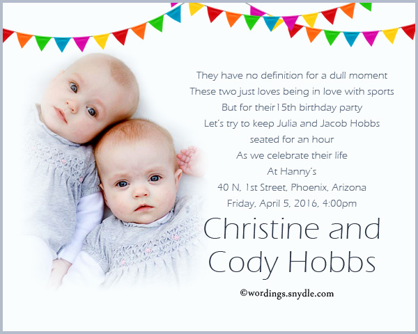 1st Birthday Invitation Wording Samples Beautiful Twins 1st Birthday Invitation Wording Samples