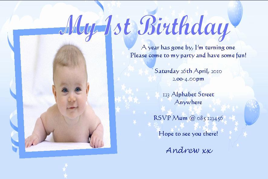 1st Birthday Invitation Wording Samples Lovely Personalised Birthday Invitations Boy Design 8