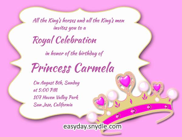 1st Birthday Invitation Wording Samples Lovely Princess Birthday Invitation Wording Samples and Ideas