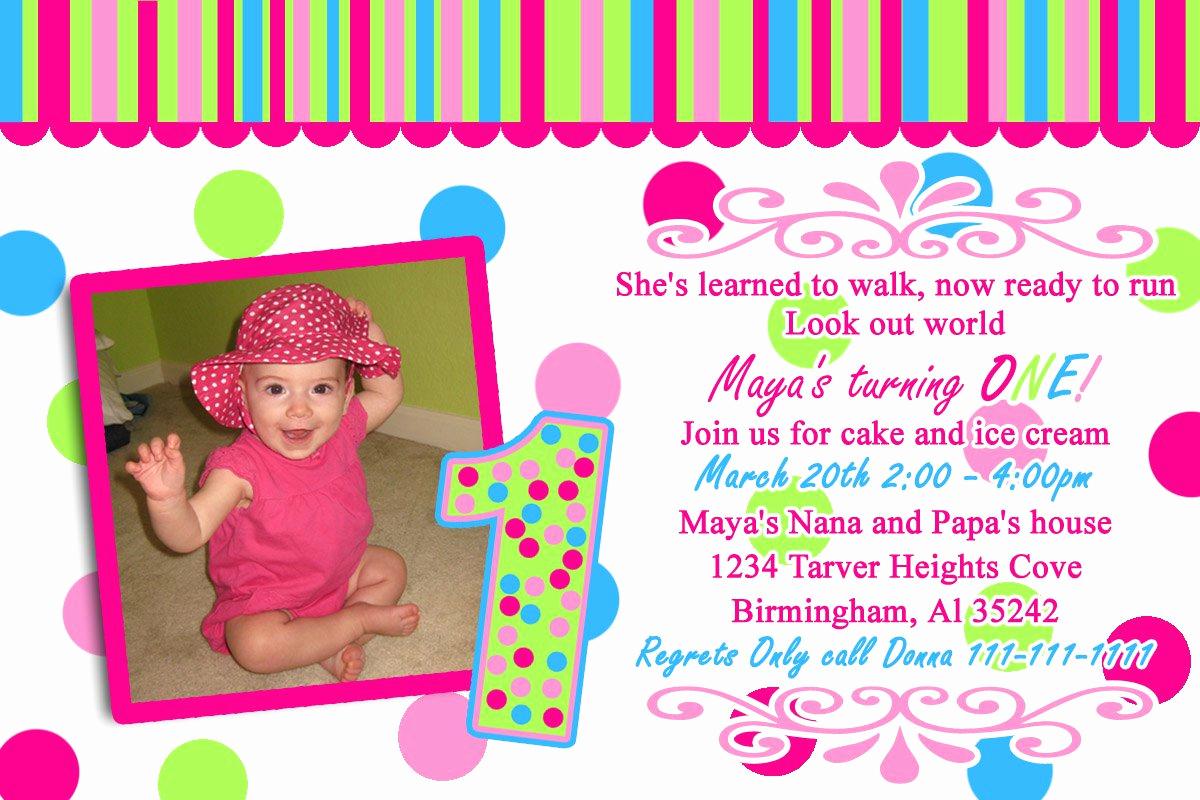 1st Birthday Invitation Wording Samples Unique 1st Year Birthday Invitation Cards Sample