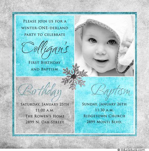 1st Birthday Invitation Wording Samples Unique Winter Birthday Baptism Invitation One Derland