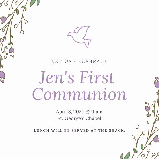 1st Communion Invitation Templates Awesome Customize 320 First Munion Invitation Templates Online