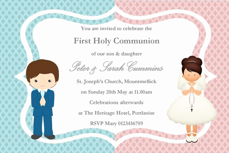 1st Communion Invitation Templates Awesome Twins 1st Munion Cakes