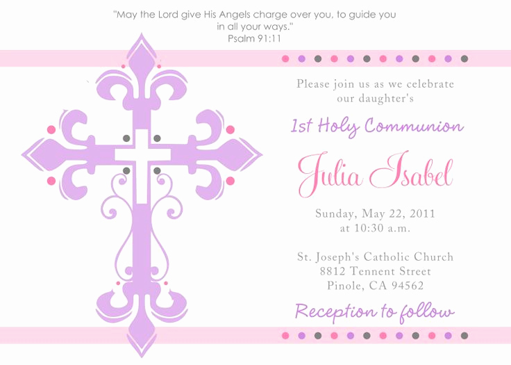 1st Communion Invitation Templates Beautiful First Holy Munion Invitations