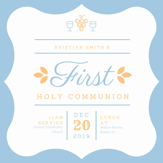 1st Communion Invitation Templates Elegant First Munion Invitation Templates Canva