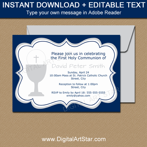 1st Communion Invitation Templates Elegant Printable Invitation Templates Editable Party Invites