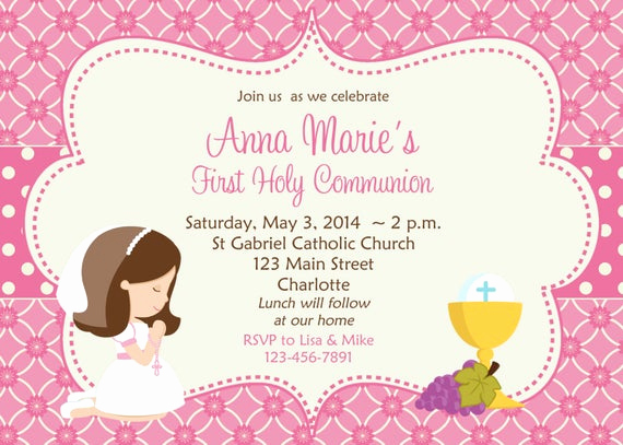 1st Communion Invitation Templates Lovely First Munion Invitation Holy Munion Invitation Holy