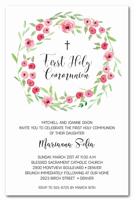 1st Communion Invitation Templates Luxury Pink Bud Wreath First Holy Munion Invitations