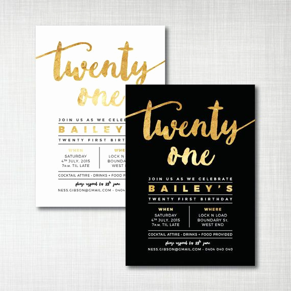 21st Birthday Invitation Ideas Best Of Printed Twenty First 21st Gold Foil Effect Invitations