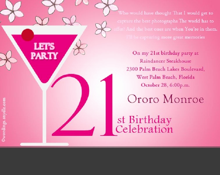 21st Birthday Invitation Ideas Luxury Pin On Party Invitation Card