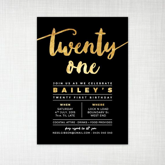 21st Birthday Invitation Ideas New 21st Birthday Party Invitation Gold Foil Effect by