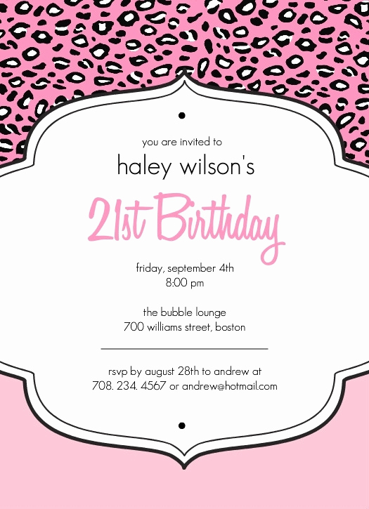 21st Birthday Invitation Templates Elegant Free 21st Birthday Invitations Templates Cobypic