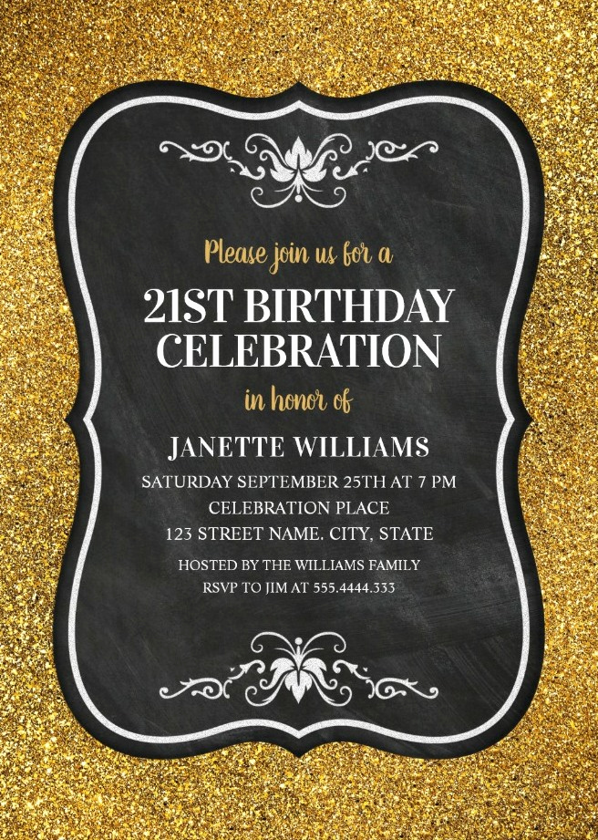 21st Birthday Invitation Templates Inspirational Glitter Adult 21st Birthday Party Invitations