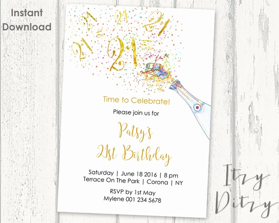 21st Birthday Invitation Templates Unique 21st Birthday Invitations Template Printable Gold Champagne