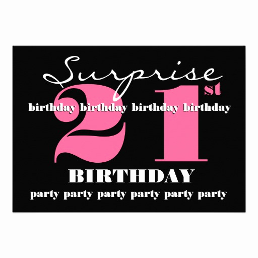 "21st Birthday Invitation Templates Unique 21st Surprise Birthday Party Invitation Template 5"" X 7"