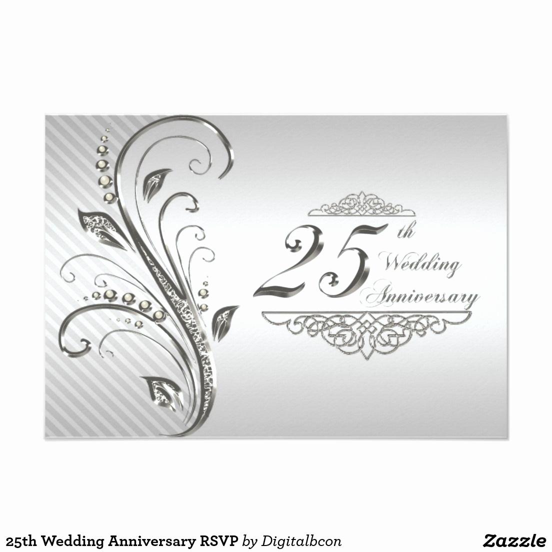 25th Anniversary Invitation Cards Beautiful 25th Wedding Anniversary Rsvp Invitation