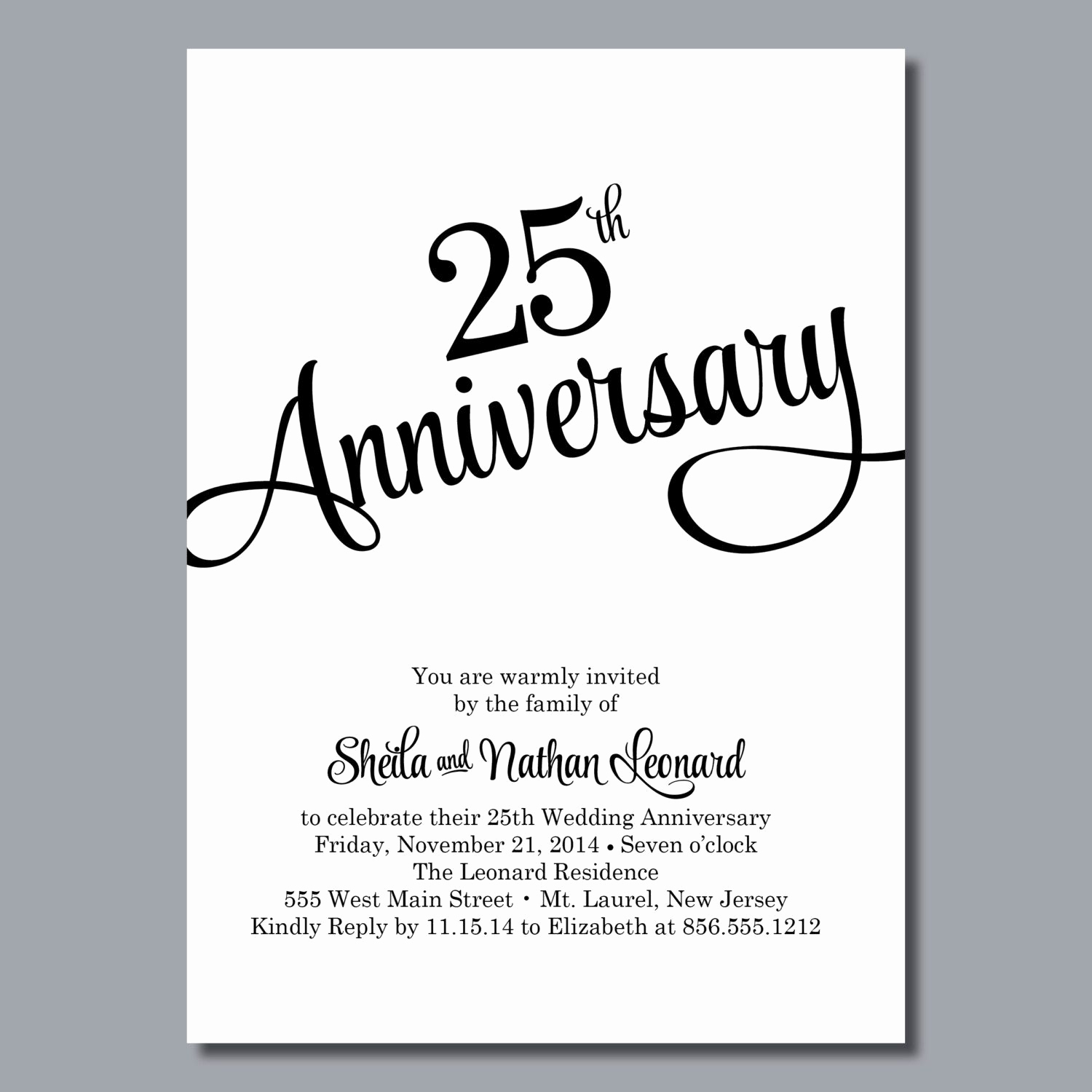 25th Anniversary Invitation Cards Best Of 25th Wedding Anniversary Invites 25th Wedding