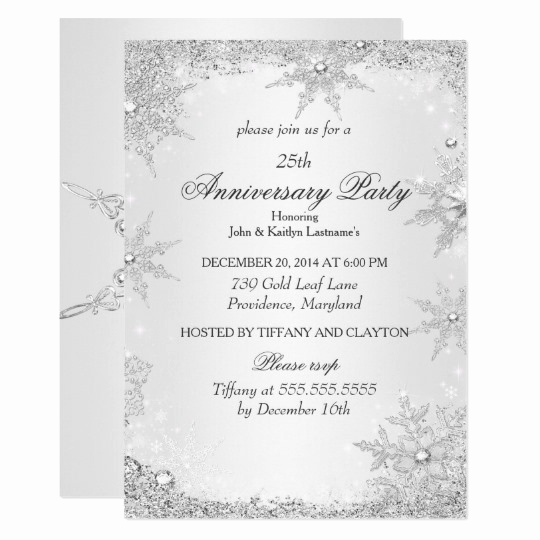 25th Anniversary Invitation Cards Best Of 25th Wedding Anniversary Party Pearl White Silver