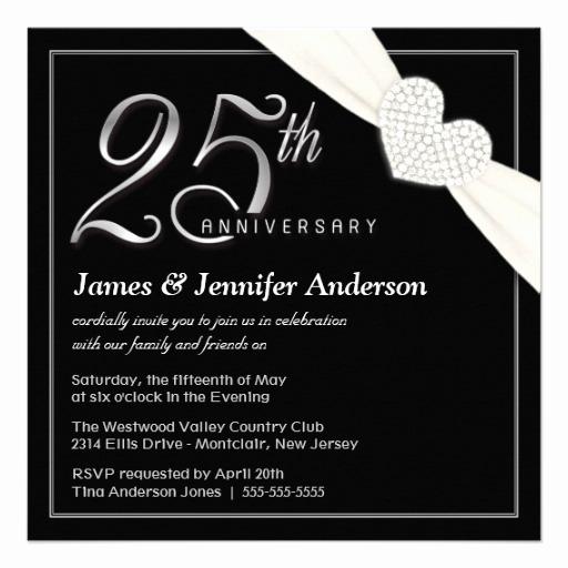 25th Anniversary Invitation Cards Elegant 25th Wedding Anniversary Party Invitations