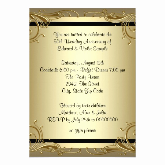 25th Anniversary Invitation Cards Fresh Elegant Gold 50th Wedding Anniversary Party Card
