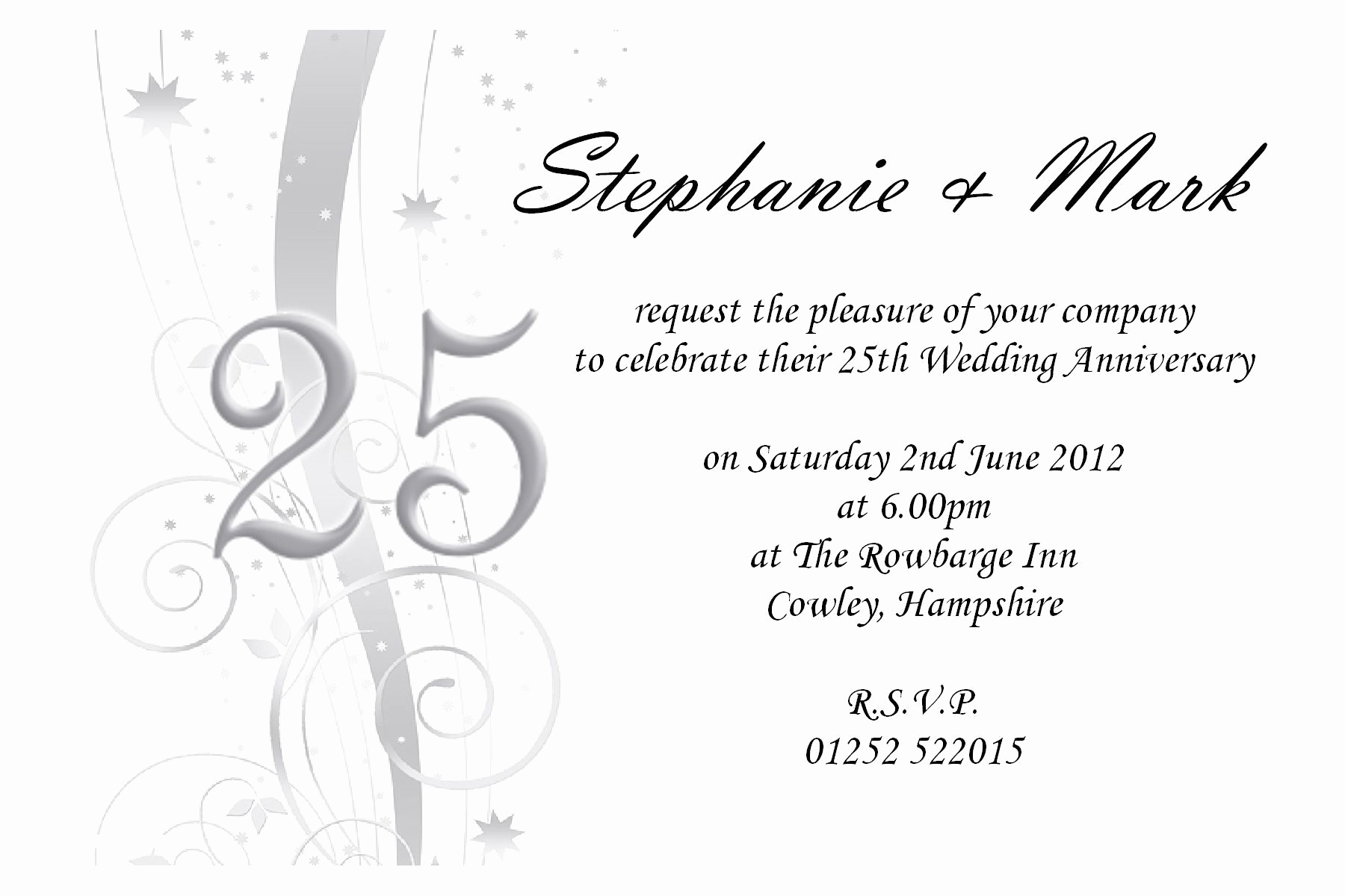 25th Anniversary Invitation Cards Inspirational Free 25th Wedding Anniversary Invitations Free Online