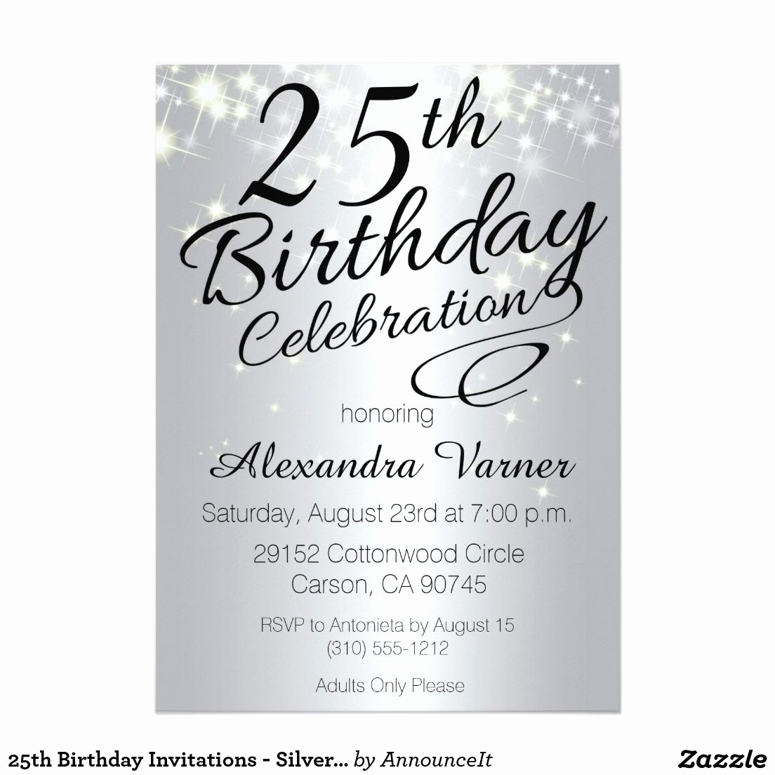 25th Anniversary Invitation Cards Lovely 25th Birthday Invitations Silver Sparkly Invites