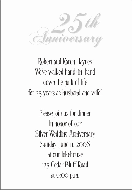 25th Anniversary Invitation Cards Lovely 25th Wedding Anniversary Invitations