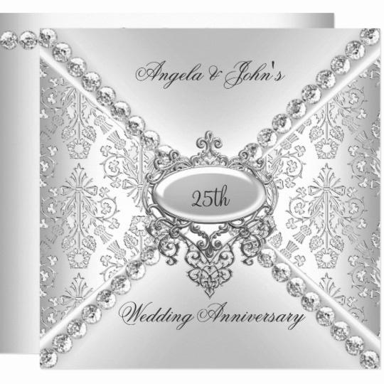 25th Anniversary Invitation Cards Luxury Elegant Silver 25th Wedding Anniversary Damask Invitation