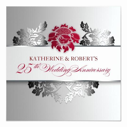 25th Anniversary Invitation Cards Luxury Silver 25th Wedding Anniversary Elegant Invitation
