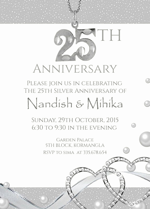 25th Anniversary Invitation Cards New 22 Best 25th Silver Wedding Anniversary Invitation