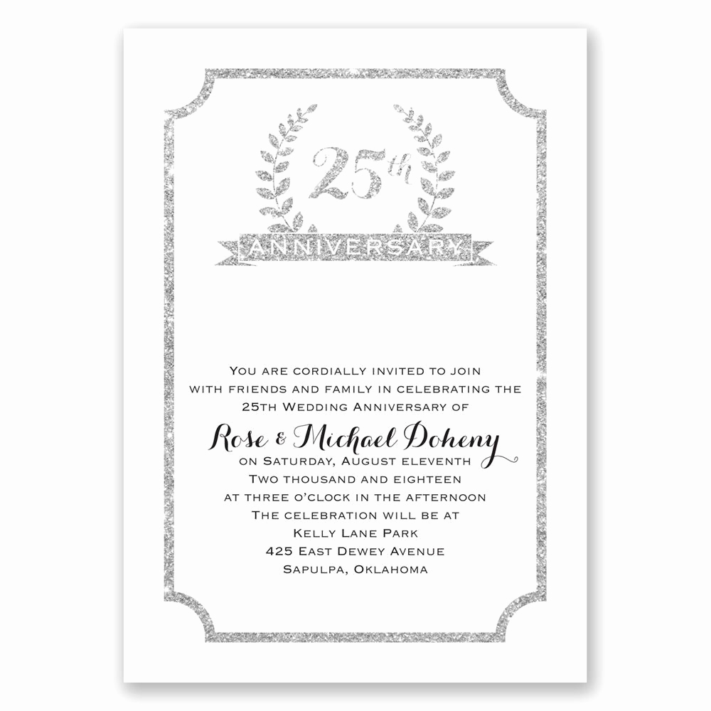 25th Anniversary Invitation Cards New 25th Crest Faux Glitter Anniversary Invitation