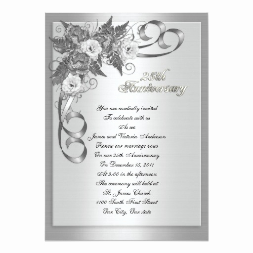25th Anniversary Invitation Cards New 25th Wedding Anniversary Vow Renewal White Roses 5x7 Paper