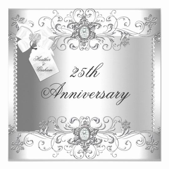 25th Anniversary Invitation Cards Unique 25th Anniversary Silver White Diamond Invitation