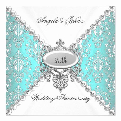 25th Anniversary Invitation Cards Unique Elegant Teal Blue White 25th Wedding Anniversary