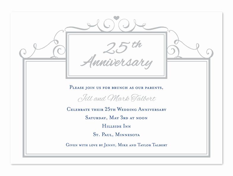 25th Anniversary Invitation Cards Unique Simple 25th Anniversary Anniversary Invitations by