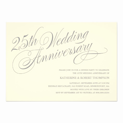 "25th Anniversary Invitation Wording Awesome 25th Anniversary Invitations 5"" X 7"" Invitation Card"