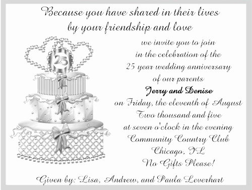 25th Anniversary Invitation Wording Beautiful L Invitation Templates 25