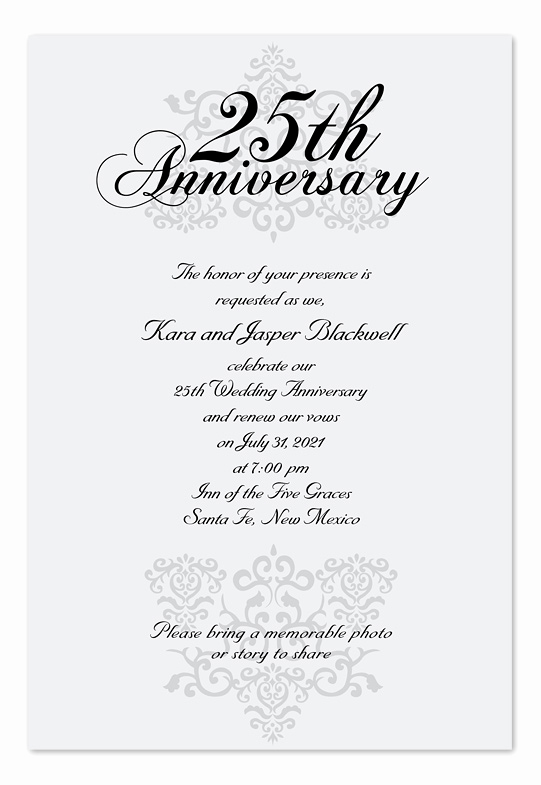 25th Anniversary Invitation Wording Best Of Elegant Anniversary Anniversary Invitations by