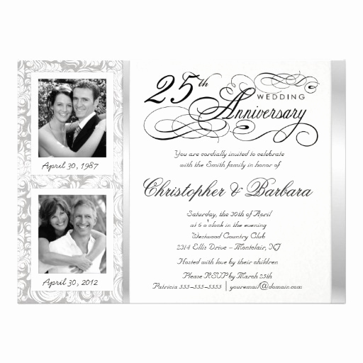 25th Anniversary Invitation Wording Elegant 25th Anniversary Invitations 2700 25th Anniversary